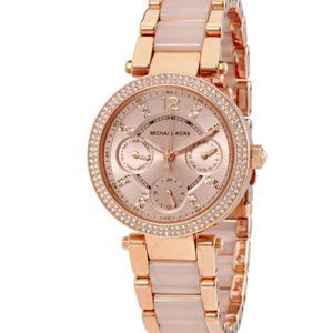 KORS Parker Mini Rose Gold Pave Crystal Watch